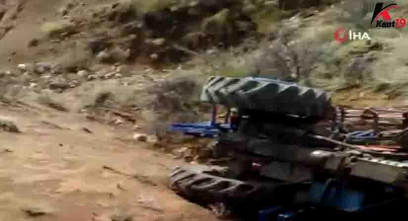 Kontrol'den Çıkan Traktör Uçuruma Yuvarlandı